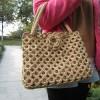 Knitting handbag-lace knitting handbag-fashion knitting bag-brown knitting bag-womens handbag-handmade tote-hand knit shoulder bag-women accessories