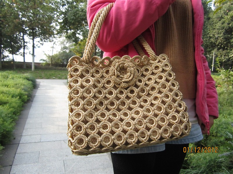 Knitting handbag-lace knitting handbag-fashion knitting bag-brown ...