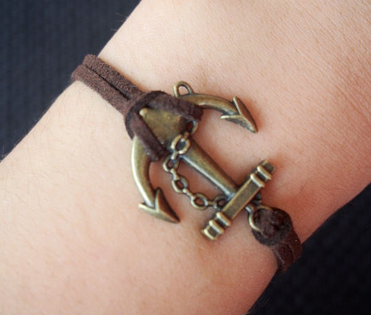 Anchor Bracelet Antique Bronze Brown Imitation Leather Single For Bf Bff Boy Friend Gift Jewelry