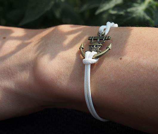 bracelet,anchor skull bracelet,antique bracelet,friendship wish bracelet, white leather bracelet,navybracelet