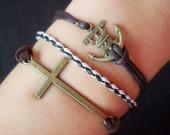 cross,anchor,braid,cross bracelet,pirate bracelet,cross bracelet,charm bracelet,infinity,love,best gift