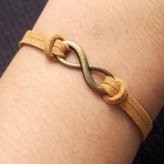 infinity bracelet-infinity,bracelet,bracelet infinity,charm bracelet,coffee yellow