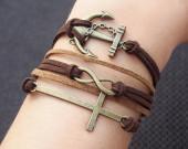 karma bracelet-anchor,infinity,cross, bracelet,anchor bracelet,infinity bracelet,cross bracelet,charm bracelet 5 strand