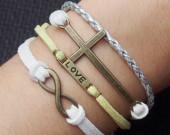 love-infinity-cross-bracelet-braided-infinity bracelet love bracelet cross bracelet antique bracelet charm bracelet-best gift