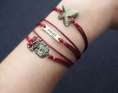 butterfly,pirate,love,skull, bronze bracelet,red wax cord bracelet