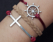 THE SAILING TIMES--Cross & Rudder Bracelet--Antique Silver Bracelet--Wax Cords and Imitation Leather Bracelet--Best Chosen Gift