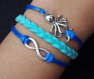 Silver Infinity Bracelet, Personalized Silver Octopus, Infinity & Octopus Charm Bracelet--Korean Cashmere Bracelet--Best Chosen Gift