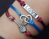 Double Heart - Love -Skull Key-Silver Charm Bracelet--Navy Blue Wax Cord Imitation Leather-Cute Personalized Friendship Jewelry