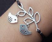 Silver Branch with Two Silver Birds Charm Bracelet-Blue Braided Bracelet-Brown Wax Cords Leather Bracelet-Friendship Charm Jewelry