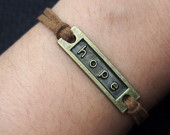 Engraved Hope Wish Charm Bracelets in Bronze-Brown Imitation Leather Bracelet-Friendship Charm Jewelry
