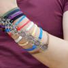 Rudder Bracelet in Silver-Charm Bracelet-Wax Cords and Imitation Leather Bracelet--Best Friendship Gift