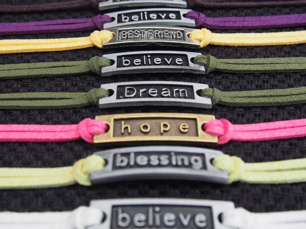 Bronze Hope, Silver Best Friend, Dearm, Blessing, Believe & Infinity Wish Charm Bracelet -Imitation Leather Bracelet-Best Friendship Gift
