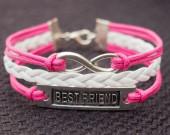 Best Friend & Infinity Wish Charm Bracelet in Silver-Rose Wax Cords Imitation Leather Braided Bracelet-Charm Personalized Friendship Jewelry