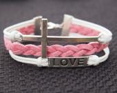 Antique Silver Cross & Love Charm Bracelet-White Wax Cords Imitation Pink Leather Braided Bracelet-Charm Personalized Friendship Jewelry