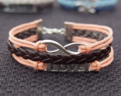 Antique Silver Love & Infinity Wish Bracelet-Orange Wax Cords Imitation Leather Brown Braided Bracelet-Charm Personalized Friendship Jewelry