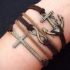 Cross, Anchor & Infinity Wish Charm Bracelet in Bronze-Wax Cords Imitation Brown Leather Braided-Charm Personalized Friendship Jewelry