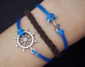 Rudder & anchor charm bracelet-antique silver bracelet-navy blue wax cords braided imitation leather bracelet-best friendship gift