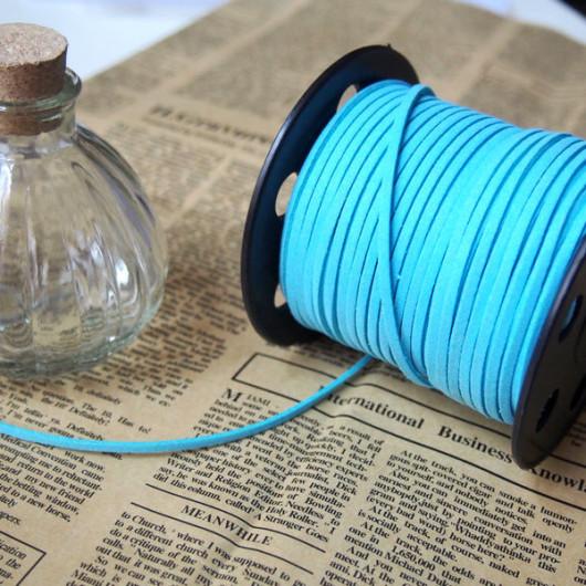 bracelet supplies-korea imitation leather cords cable light blue color