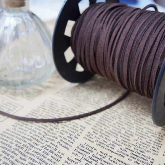 3mm*1.5mm-Bracelet Supplies-Korea Imitation Leather-dark brown Color-Support Wholesale-$0.45/M