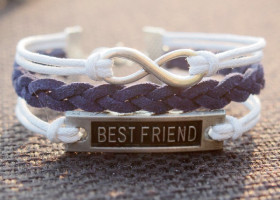 Infinity Best friend Charm Bracelet-white Wax Cords Imitation Leather Braided Bracelet-Charm Personalized Friendship Jewelry
