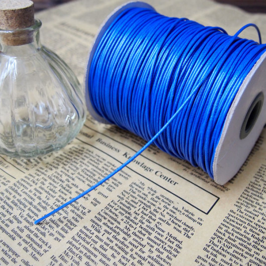 blue round korea wax cord-necklace bracelet supplies