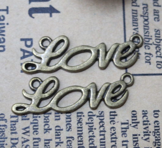 13*34mm-Love Sign Vintage Alloy-Bracelet supplies--Antique Bronze-Discount Wholesale Price-20pcs/lot