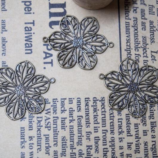 22mm-Copper Flower Vintage-Bracelet supplies--Antique Bronze-Discount Wholesale Price-30pcs/lot