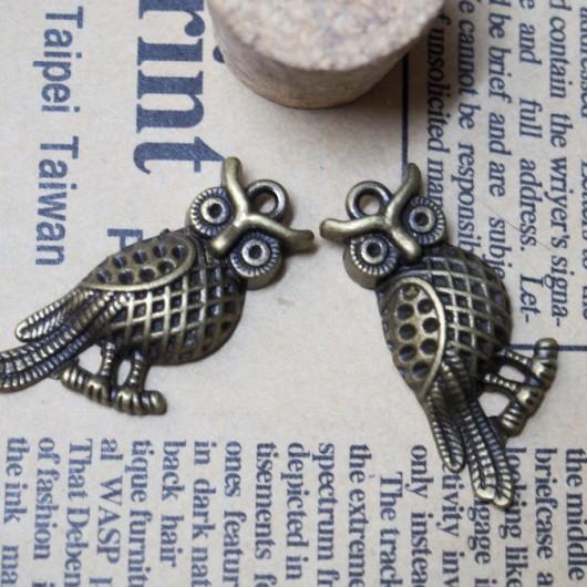 36*15mm-Cute Owl Vintage Alloy-Bracelet supplies--Antique Bronze-Discount Wholesale Price-20pcs/lot