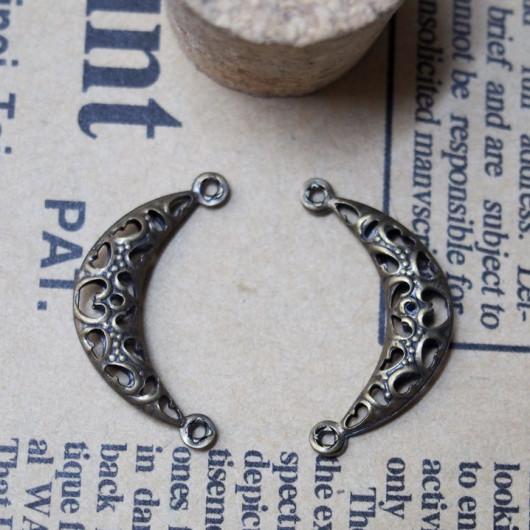 23*12mm-Copper Moon Vintage Alloy-Bracelet supplies--Antique Bronze-Discount Wholesale Price-30pcs/lot