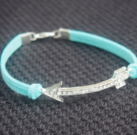 Wholesale Bracelets-Diamonds Arrow Shining Bracelet-Mint Imitation Leather Bracelet-Bridesmaid Gift-Best Friendship Jewelry Gift