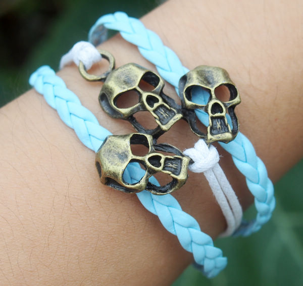 Skull Bracelet, Charm Bracelet in Antique Bronze-White wax cords-Light Blue Braided leather Bracelet-Personalized Men Jewelry