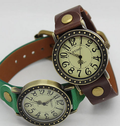 Vintage Watch roman classic leather bracelet