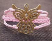 Butterfly Charm bracelet-Full pink Wax Cords Braided Leather Bracelet for Girl Friend Gift-Personalized Best Bracelet Jewelry Gift