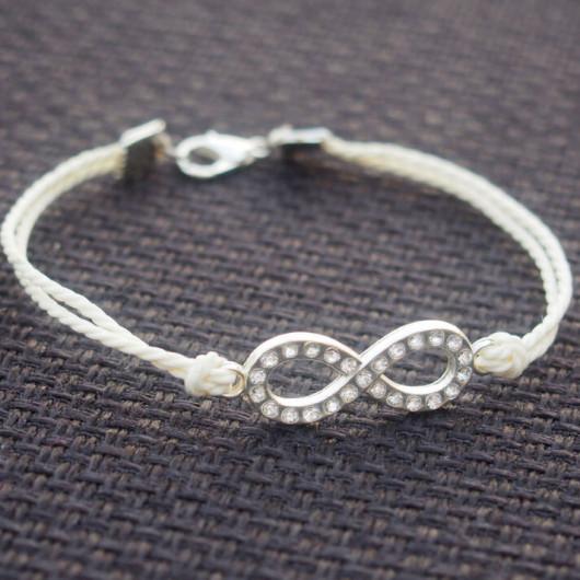 diamond infinity bracelet white
