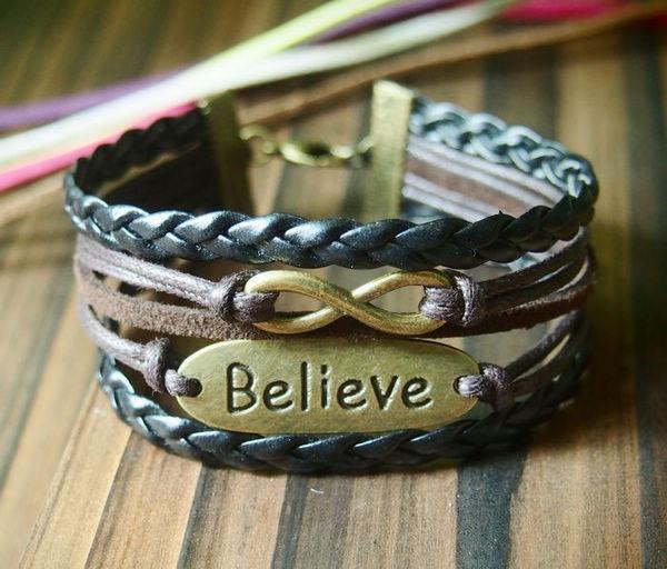 infinity believe charm bracelet