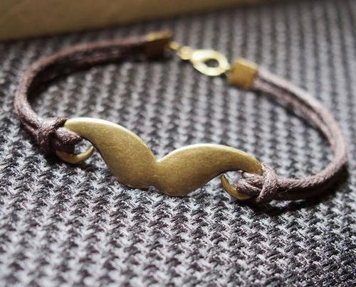 Bronze Beard Bracelet for men boy friend--Brown Wax Cord Single Bracelet Jewelry--Best Gift for father