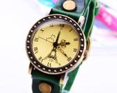 Eiffel Bracelet Watch, Handmade Bracelet Watch real leather-Charm Gift for boy friend girl friend Personalized Jewelry