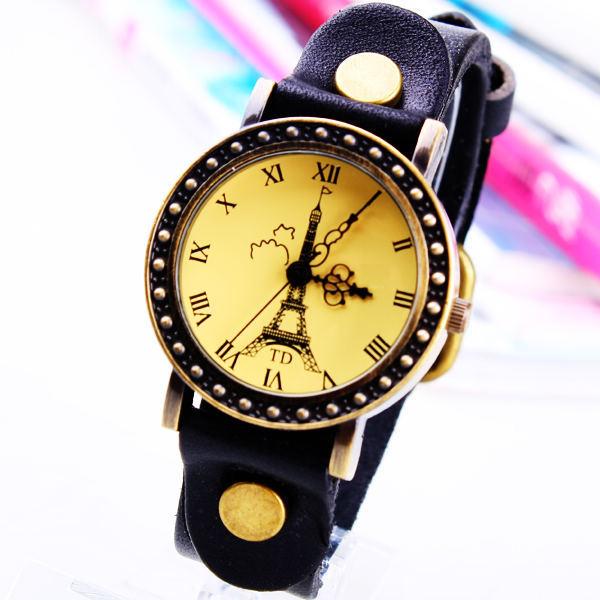 eiffel bracelet watch  handmade bracelet watch real leather