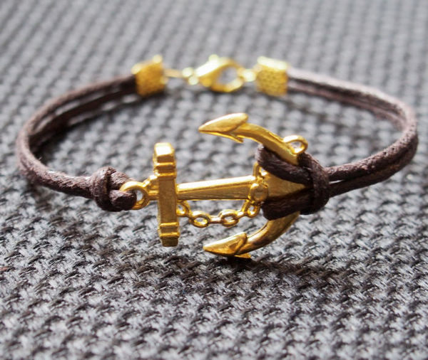 Gold Anchor Bracelet Brown Wax Cord Leather Single For Men Women