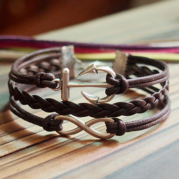 Silver Infinity Anchor Charm Bracelet-Full Brown wax cords Braided leather Bracelet-Charm Personalized Friendship Jewelry