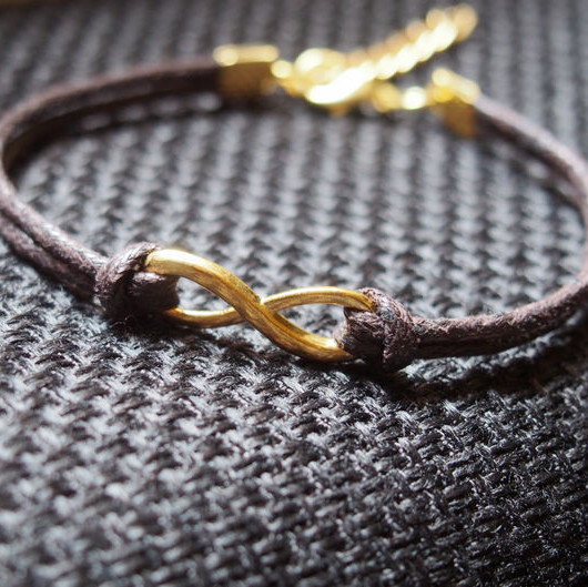 Men Bracelet, Gold Infinity Single Bracelet for Father or boy friend--Brown Wax Cord Single Bracelet Jewelry