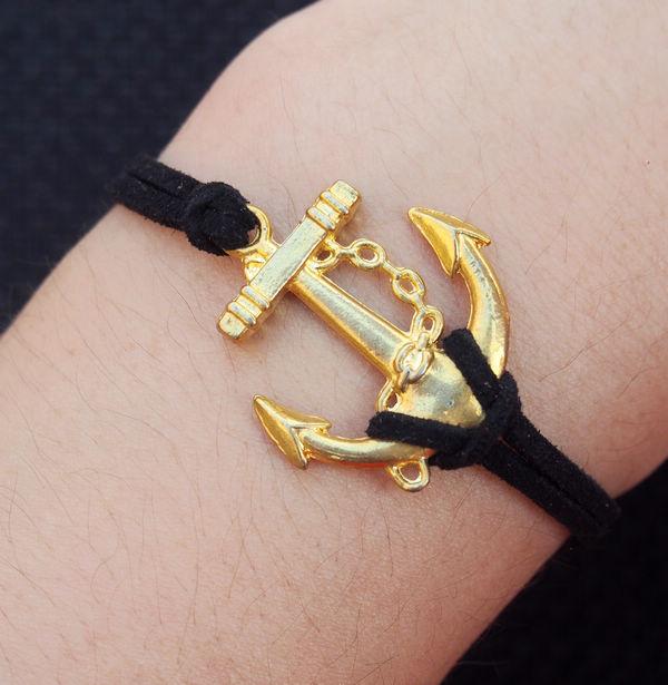 Anchor Leather Bracelet Gold Black Handmade For Men