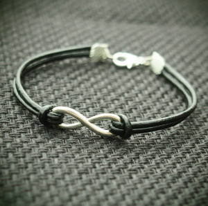 Infinity Real leather Bracelet in Silver--Black real leather Bracelet for MEN--Best Gift for Boy friend Jewelry