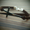 mens-bracelet-black-cross-with-brown-leather-bracelet