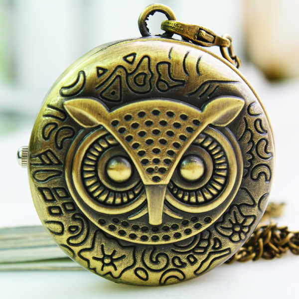 buy pocket watch online free shipping  owl pocket watch custom retro watch  antique pocket watch