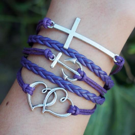 Cross-Bracelet-Anchor-Bracelet-Heart-to-heart-Bracelet-Charm-Bracelet