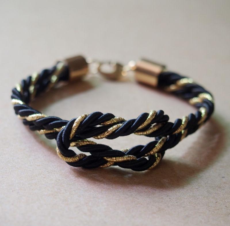 Gold-and-Black-rope-bracelet-for-men