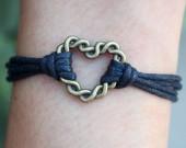 Heart-Shape-handmade-Bracelet-in-bronze-black-wax-cord