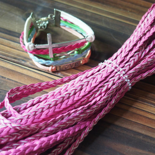 buy braided leather rose color