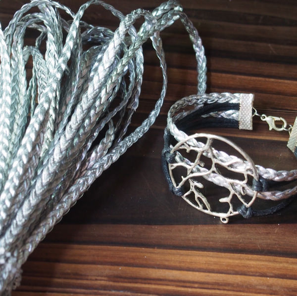 Wholesale braided leather jewelry supplies 5mm silver for Wholesale leather craft supplies